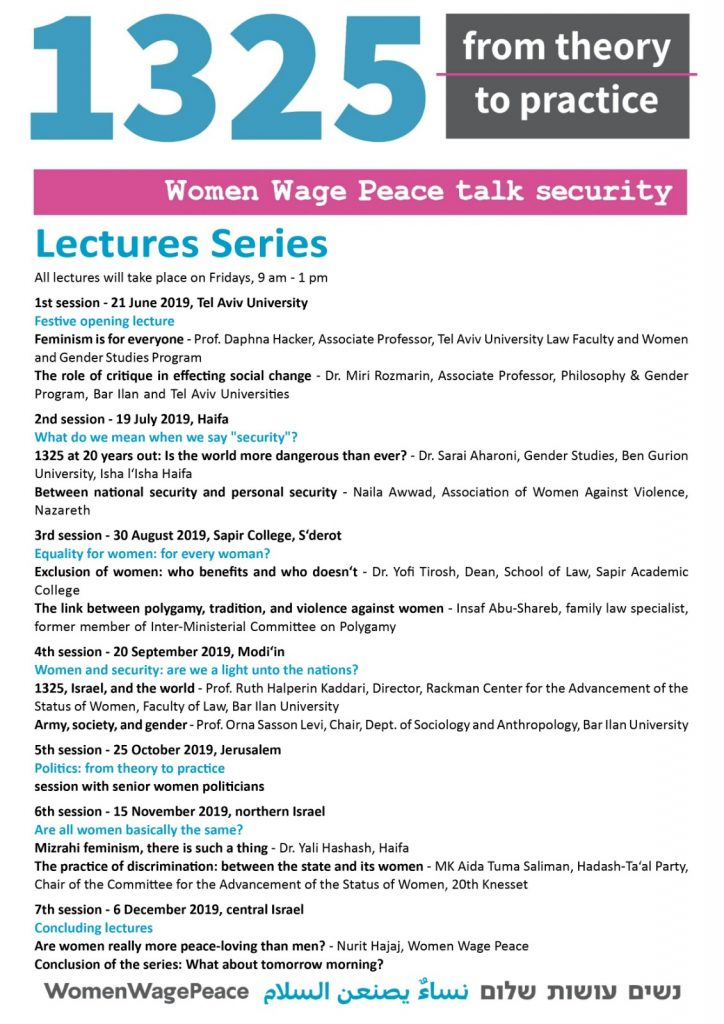 Women Wage Peace Talk Security – A series of lectures